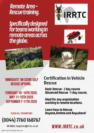 Remote rescue training flyer by IRRTC