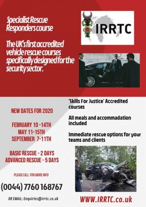 Security sector rescue training flyer by IRRTC