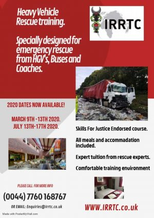 Heavy Vehicle rescue training flyer by IRRTC