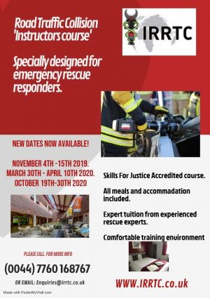 Road traffic collision instructors rescue training flyer by IRRTC