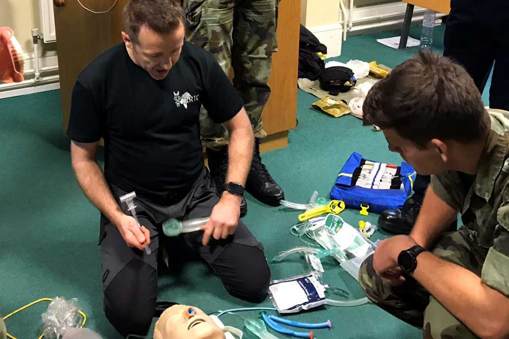 IRRTC - Mike Maybin delivering a trauma casualty care course